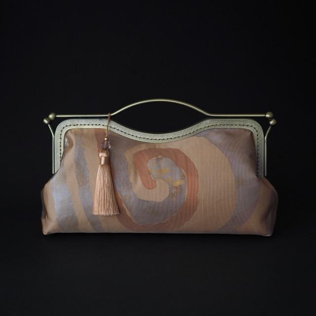 クラッチ 2つ玉がま口 帯バッグ 中サイズ